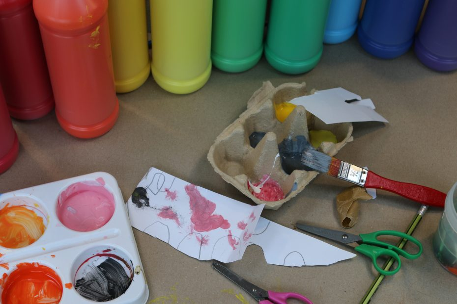 coloured paint and craft materials