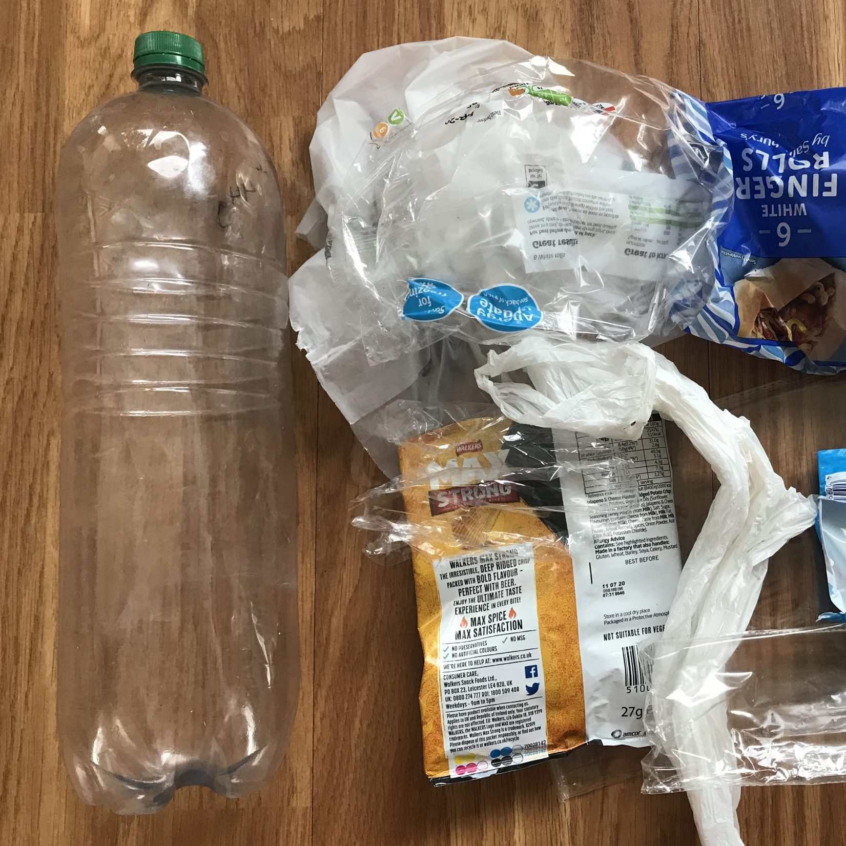 Eco Bricks — A clear plastic water bottle and waste single use plastics