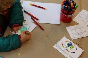 Children making woodcraft folk postcards