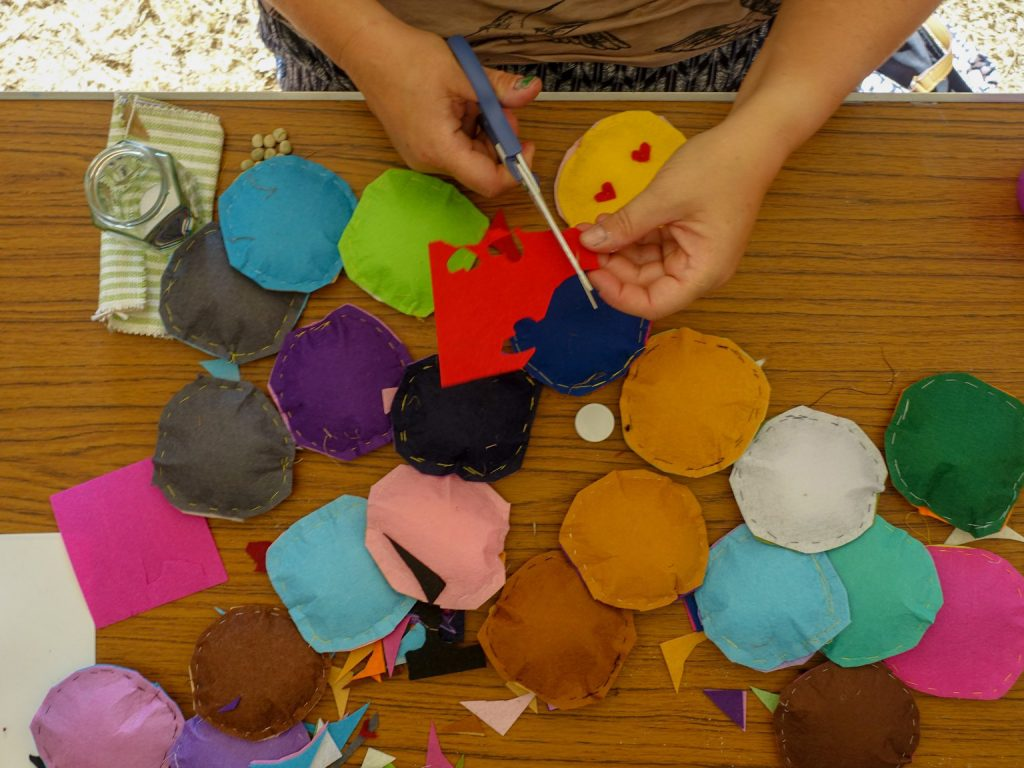 educational activity - hand stitched felt circles