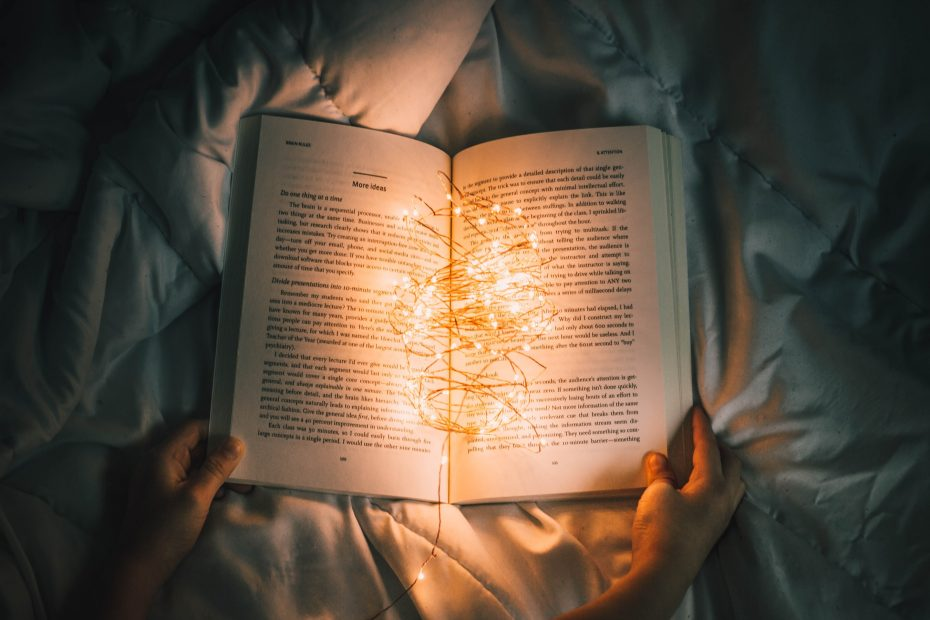 book with fairy lights