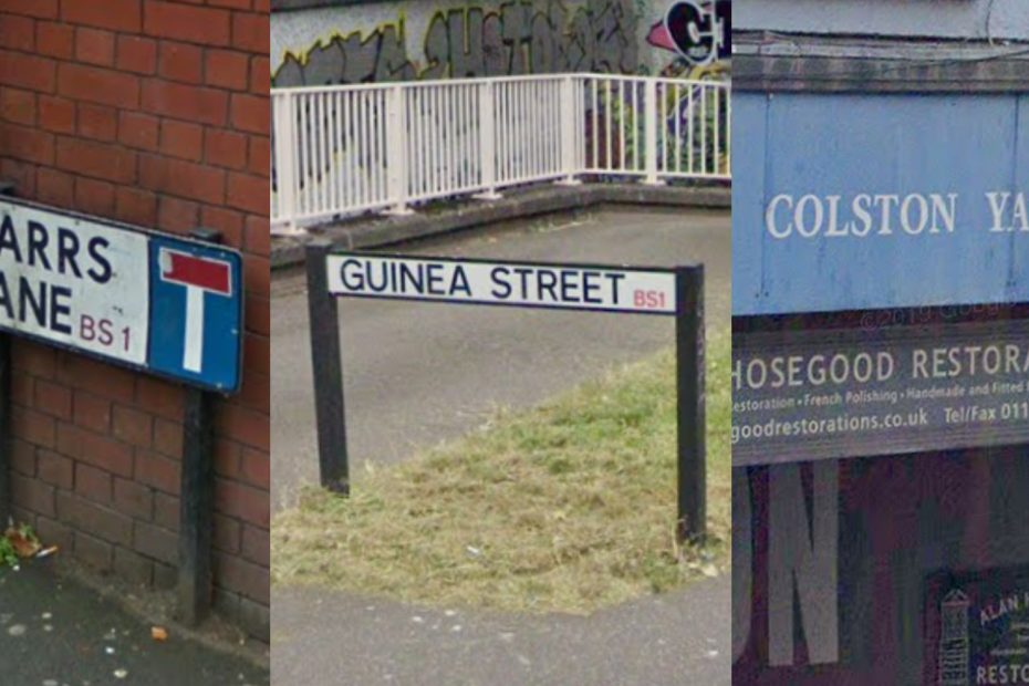 History gap - road signs from Farrs Lane, Guinea St and Colston Yard