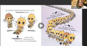 Picture of bees doing waggledance in the story book