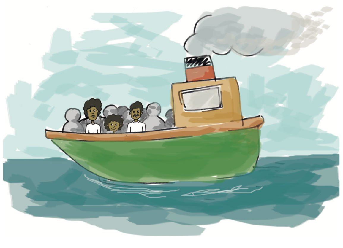 drawing of a family on a boat