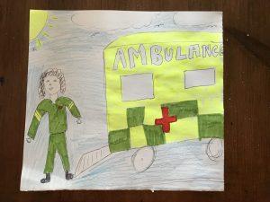 Drawing of a paramedic next to an ambulance