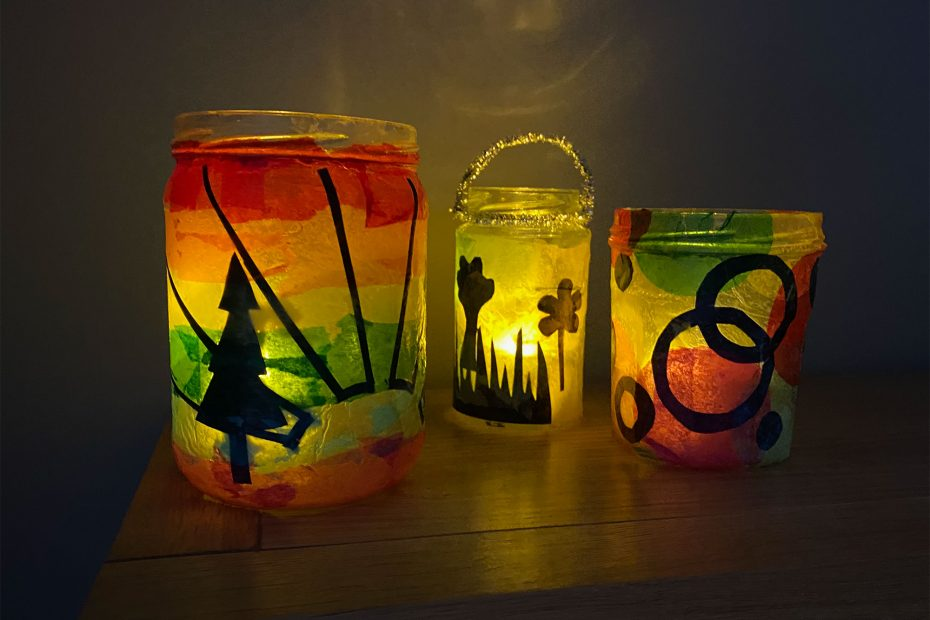 Coloured jam jar lanterns